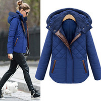 Women Casual Hooded New Autumn Winter Womens Hooded Outwear Jacket Coat Slim Warm Cotton-padded Clothes Lady's Parka Coat Black Blue