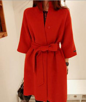 Cheap 2014 New Autumn Womens Wool Blends Coat O-neck Mid-long Overcoat Lady's Outwear Wool Coats Red