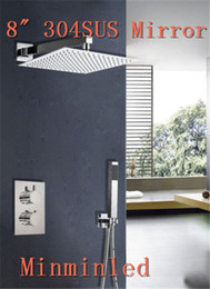 Wholesale New arrival Square quot Thermostatic Bathroom Shower Faucet Set unleaded Ultra thin SUS Mirror shower head set Years Warranty free Fedex
