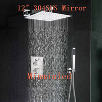 Wholesale Brand new Bathroom inch Lead free Ultra thin Shower Head Set SUS Mirror Thermostatic Mixer Valve Fedex for Christmas