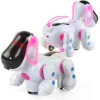 al por mayor nuevos niños z-Nueva música electrónica Robot perros encantadores niños electrónico rojo perro cachorro niños juguete con música luz 19690 Z que camina