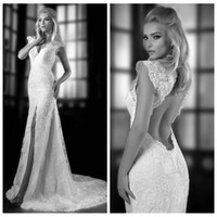 Wholesale Vintage Lace Wedding Dress Side Slit Capped Sleeves Bridal Gown Court Train Wedding Party Dress V Neckline Hollow Back For Bride