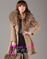 Wholesale Ladies Pink Wool Coats - Hot Women Cashmere Woolen Coat Bussell Lapel Winter Middle Long Overcoat Ladies Wool Bleed Jacket Women's Outwear With Rabbit Fur Collar