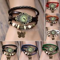 Wholesale New Arrivals Fashion Women Genuine Leather Vintage Watch bracelet Wristwatches butterfly