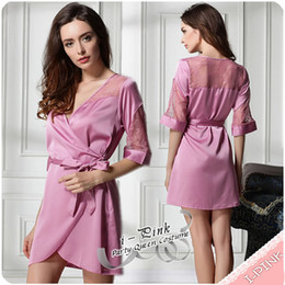 Wholesale New High Quality Luxury Women Summer sheer Sleepwear Robes Lace nightgown Pajamas with belt