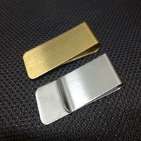 Wholesale Hot sale Christmas gift personality detonation model Men s Silver Stainless Steel Wide Double Side Credit Bills men Money cash Clip BG004