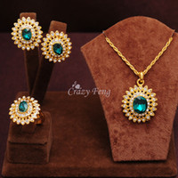 Wholesale Women s k Yellow Gold Filled Emerald Ruby Blue Austrian Crystal Jewelry Sets With Necklace Earrings Ring