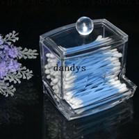 Wholesale Storage Box Clear Acrylic Q tip Holder Box Cotton Swabs Stick Storage Cosmetic Makeup Case dandys