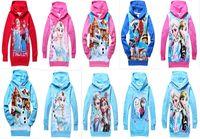 Cheap 19 Color Frozen Baby Girls 2-8Yrs Elsa Anna Princess Olaf Hoodie Long Sleeve Terry Hooded Jumper Cartoon Hoodies Outerwear Kids Clothing