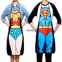 funny novelty aprons - 2Pcs Funny Novelty Sexy Dinner Party Superman Cooking Apron Wonder Woman Men dandys