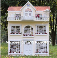 Wholesale diy oversized chalets dollhouse mini doll Villa furniture toys small house architectural model