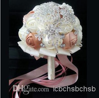 brooch bouquet - Wedding Bouquet Ivory Pink Color Silver Brooch With Pink Ribbon pc B12