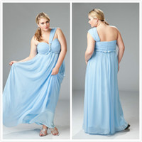 Wholesale Fashion Plus size Prom Dresses One Strap Light Sky Blue Sweetheart Pleat Bust Empire Waist Graceful Chiffon Comfortable Formal Gown