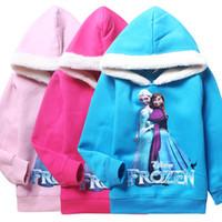 Cheap 2014 Winter 3 colors 2014 Frozen Girls 5-12Years Elsa Anna Princess Hoodies Long Sleeve Fleece Hoodies Kids Sweatshirts children's clothing