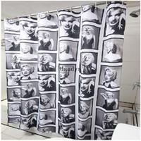 Wholesale 180cm Miss Marilyn Monroe Home Bathroom Waterproof Fabric Shower Curtain Hook dandys