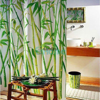 bamboo shower hooks - Green Bamboo Natural Landscape Design Bathroom Shower Curtain Fabric Hooks dandys