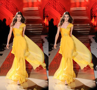 Cheap Zuhair Murad One Shoulder Chiffon Formal Evening Prom Dresses A line Beads Red Carpet Runway Celebrity Party Gowns 2014 Cheap Custom