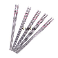 Wholesale 5 Pairs Stainless Steel Plum Blossom Flower Pattern Chopsticks Chop Sticks dandys