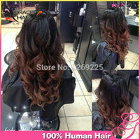 Cheap 2014 New Body Wave Ombre U part Wig 1bT#4 Two Tone Brazilian Virgin Human Hair Middle Upart Wigs For Black Women Freeshipping