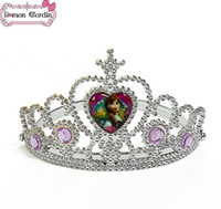 resin material - Frozen Alsa Anna Crown Girl Tiaras snow plating resin material Crown Princess tiara accessories Ice princess crown Children Hair Accessories
