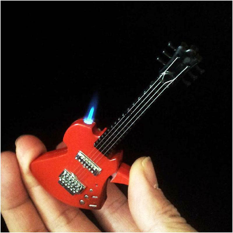 2017 Unique Windproof Guitar Shape Butane Gas Refillable ...
