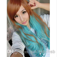 Wholesale Contrast Color Cosplay Wig Long Curly Blue Brown Oblique Bang Style Hot Sales EMS W10