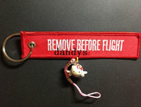 Wholesale Remove Before Flight Key Chain Luggage Tag Zipper Pull Woven Embroidery Keychain dandys