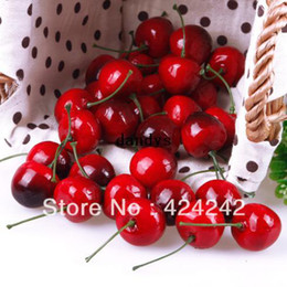 Discount Cherry Kitchen Decor New 30pcs Lifelike Fake Faux Cherry Artificial Fruit Model House Kitchen Party