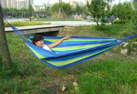 Cheap 100pcs Super big size 280x80cm camping hammock swing outdoor thickening canvas hammock casual single double bearing