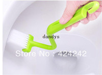 Wholesale Hot Portable Toilet Brush Scrubber V type Cleaner Clean Brush Bent Bowl Handle dandys