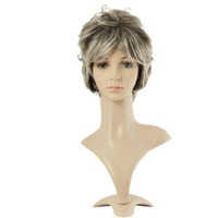 Wholesale Cool2day Stylish Hair Gray With White Short Natural Curly Wigs Synthetic Replacement Wigs JF010771