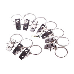 Wholesale 10Pcs Durable Stainless Steel Window Door Shower Curtain Rod Clips Drapery Rings dandys