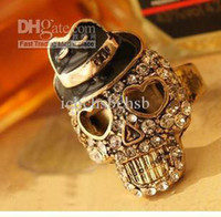 Cheap Rings Black Small Straw Hat Skeleton Head Euramerican Style Fashion 24PCS Lot Free Shipping D-0139