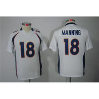Cheap Top Quality Football Jerseys #18 Peyton Manning White Limited Youth American Football Jerseys Cheap Football Uniforms Name Number Stiched