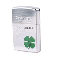 Wholesale Hot Sale Lucky Four Leaf Clover Green Shamrock High Polished Chrome Windproof Lighter dandys