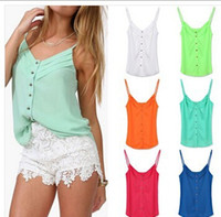 Wholesale 2014 Summer Women Blouse Candy Color Lady Shirts Sexy Chiffon Blouses Spagetti Strap Vest Tops Clothing XXXL Free Drop Shipping