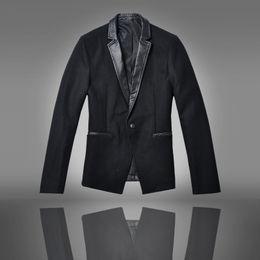 Wholesale 2014 Autumn Korean men Slim Slim black leather collar then west then west coat