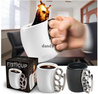 brass knuckles rings - 1Pcs Knuckle Duster Mug Finger Fist Milk Coffee Handle Brass Ring Ceramic Cup dandys