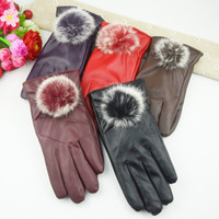 Wholesale 12 Gloves of Fashionable Women Lady Rabbit Fur Womens Driving PU Leather Gloves for winter Gloves