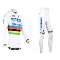 Última camisa de Mérida Equipo de ciclismo conjunto de manga larga blanca y pantalones acolchados Lampre Bicicleta Trajes Brethable suave para hombre ropa de la bici