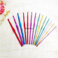 aluminum knitting needles - 14Pcs Multicolor Aluminum Crochet Hooks mm Needles Knit Weave Craft Set dandys