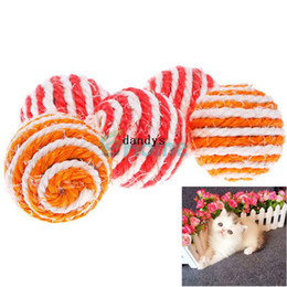 Wholesale 10 X Pet Dog Cat Kitten Teaser Playing Chew Rattling Sound Cute Toys Sisal Rope Ball dandys