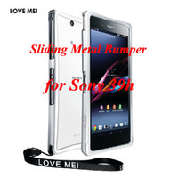 Cheap Original Love mei Sliding Metal Aluminum Bumper Perfect arc for SONY Xperia Z XL39h+Retail Package,1pcs,Free Shipping