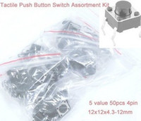 Cheap Free Shopping 5 value 50pcs 4pin 12x12x4.3-12mm Tactile Push Button Switch, Momentary Tact Switch Assortment Kit
