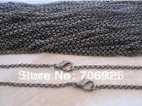 Cheap 18inch Roro Metal necklce chain Link chain 2mmx2mm with lobster clasp 50pieces lot ( 5color you can choose) Free Shipping