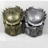 Wholesale Alien Predator Halloween Mask Cosplay Masquerade Mask Party Mask Movie Theme mask Predator avpr lone wolf mask Silver Gold M01