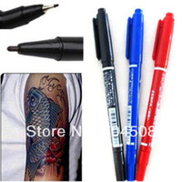 Wholesale FD163 Dual Tip Tattoo Skin Marker Piercing Marking Pen Scribe Tool Surgical