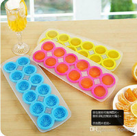 Wholesale 100 Food Grade Lemon SILICONE ice cube mold tray easy release cubes healthy GREEN SKY BLUE ROSE RED BM01