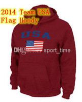 Cheap Wholesale - Team USA Olympics Jersey Hoodies USA Flag Pullover Hoodie Red Men's Sports Sweatshirts Hoodies 2014 Newest Brand Name Cheap Flee
