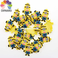 Cheap 100pcs lot Fashion Silicone Despicable Me Minions Charms For Rubber Loom Bands DIY Bracelets Loom Charms